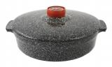 Сотейник 3л, d26см, керамическая крышка (черный мрамор) (термопленка) 1СТчм-3